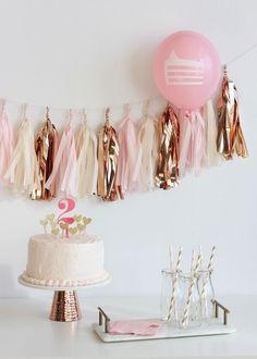 Rose gold birthday party garland and cake toppers. Bridal shower, birthday party rose gold theme color scheme