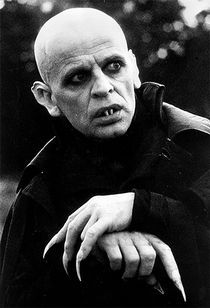 Klaus Kinski as Nosferatu in the 1979 remake by Werner Herzog. Kinski it turns out was a child-abusing monster in real life.