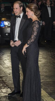 Black lace gown, Diane von Furstenberg | Kate Middleton's maternity style