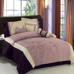 """Santa Fe Purple Queen Size Luxury 7-Piece comforter set including Comforter, Skirt, Throw Pillows and Pillow shams by Royal Hotel by Royal Hotel. $79.99. 1- Bed Skirt 60""""Wx80""""L, 2- Standard Pillow Shams 20""""Wx26""""L. Material : 100% Polyester Face, Backing & Filling.. Queen 7-Piece set includes: 1- Comforter 86""""Wx86""""L. 1- cushion 16""""x16"""", 1- breakfast pillow 12""""x16"""", 1- Neck Roll 6.5""""x16"""". Machine wash in cold water. Package Contains 1- Comforter 86""""Wx86""""L, 1-Bedskirt 60""""Wx..."""