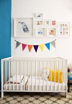 White and bright nursery. Graphic designer Natalia Ferrero shares the colorful & crafty DIY space she created for her son Bruno.