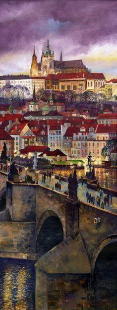 Prague Charles Bridge With The Prague Castle Poster By Yuriy  Shevchuk