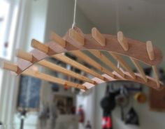 Wooden Hanging Clothes Drying Rack or Pot Rack - Ceiling Mounted 8 Lath Hardwood Winter Dyke