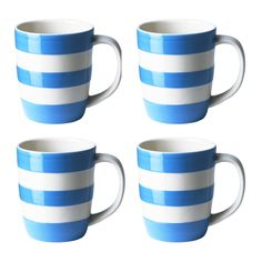 Set of 4 Turkish Blue Mugs, - Cornishware® – Classic British Kitchenware by T. Cornish Cottage, Cornishware, Kitchenware, Tableware, Jar Storage, Vintage Pottery, Mugs Set, Stripes Design, Dinnerware