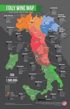 Italian wine grape varieties map by region