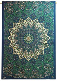 Mandala Star Indian Wall Hanging Cotton Tapestry Twin Size Blue Beach Tapestr...