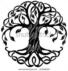 tattoo inspiration: Vector ornament, decorative Celtic tree of life - stock vector