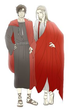 It looks like Lucius (head-canon name for Rome) and Germania had a clothes swap; why else would Germania be in a toga? - Art by 酒池肉林 on Pixiv, found via Zerochan
