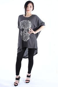 withMoons Punk Rock Jewelled Skull Skeleton Batwing Plus Size Tunic Top M 3XL | eBay