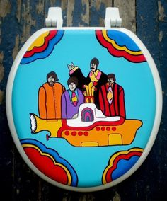 Perfect for my Yellow Submarine bathroom!  Yellow Submarine Hand Painted Toilet Seat by DebbieIsAdopted, $70.00