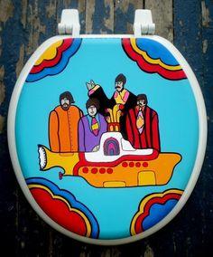 Yellow Submarine Hand Painted Toilet Seat Beatles Dad Grad Gift Yellow Submarine, Painted Chairs, Painted Furniture, Funky Furniture, Funny Toilet Seats, Toilet Art, Grad Gifts, Diy Bathroom Decor, White Rooms