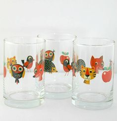Vintage Fox And Friends Glass  Fun, glass tumbler with playful vintage animal design. This adorable glass tumbler completes the vintage animal mealtime set and is great for making meal time fun. It will never fail to delight children at mealtimes with it's cute animal motifs. Swedish design, with a lovely retro feel to the colours and illustrations. It will bring back memories of yesteryears! This glass comes with fox, hedgehog, tall birdie, tiger, apple & owl motif. A perfect gift for both…