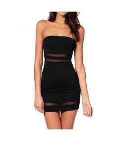 b752fd19d3 Women s Tube Dress Mini Bodycon Tight Fitted Bandeau Short Pencil Dress -  Black - C111WY2KPP9