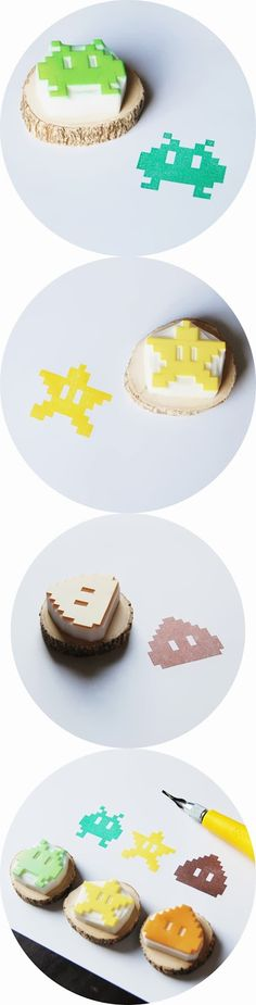 hand-carved 8-bit Space Invader, Poop and Star, rubber stamps, $18 each