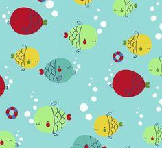 Tela patchwork de peces