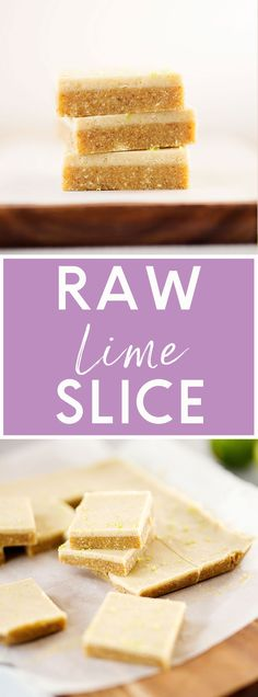 A creamy Raw Lime Slice that is vegan and gluten-free. The perfect dessert to make and store in the freezer for whenever you need a sweet treat. Raw Dessert Recipes, Raw Vegan Desserts, Vegan Sweets, Raw Food Recipes, Sweet Recipes, Delicious Desserts, Snack Recipes, Healthy Recipes, Pastry Recipes