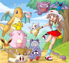 Leaf and all her pokemon