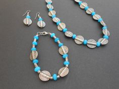 3 piece calypso blue faceted agate statement necklace, bracelet and earrings by CharismaBolivia, $77.00