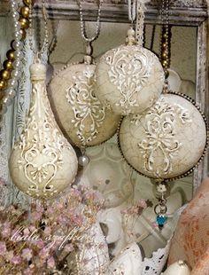 white handmade agi cabinet: decoupage balls