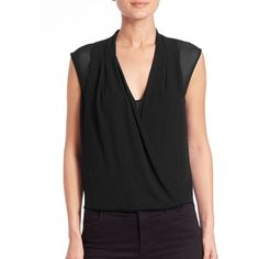 BCBGMAXAZRIA Remy Surplice Blouson Chiffon Top ($93) ❤ liked on Polyvore featuring tops, apparel & accessories, black, chiffon top, v-neck top, v neck top, pleated top and cross over top