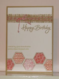 A clean and simple card to use my Honeycomb stamp set and burlap!  Perfect!