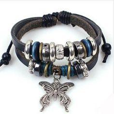 DIY Bracelet Vintage Style Leather Bracelet Butterfly Bracelet
