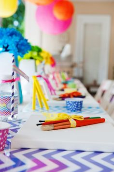 Rainbow + Chevron Arts and Crafts Party !!!