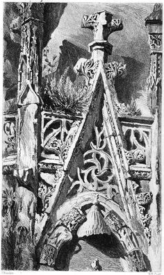 John Ruskin, The Seven Lamps of Architecture, 1855 Part of the Cathedral of St. Lô, Normandy, p. Cathedral Architecture, Gothic Architecture, Architecture Details, Art Nouveau, Gothic Windows, Gothic Buildings, Arts And Crafts Storage, John Ruskin, Watercolor Architecture