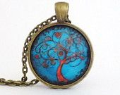 Tree of life necklace handmade art pendant 1 inch round pendant or 2.5 cm