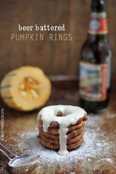 pumpkin beer battered delicata squash rings with a maple Greek yogurt dipping sauce