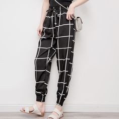 Women Baggy Harem Tapered Pant Trousers Pocket Checkered Black