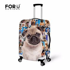FORUDESIGNS New Fashion Elastic Thick Luggage Covers Cute 3D Animal Pet Pug Dog Design Protective Cover for 18-30 Inch Suitcase