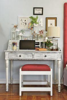 repainted desk, repainted & reupholstered chair