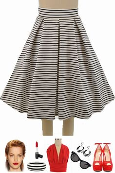 "Our ""Pretty In Pleats Full Midi Pinup Skirt"" just got prettier in White & Black Stripes! Get this new print and 9 other colors/prints here at Le Bomb Shop: http://lebombshop.net/search?type=product&q=%22pretty+in+pleats%22&search-button.x=0&search-button.y=0  FAST & FREE U.S. s/h - Exact shipping costs for International Customers :-) WE ship worldwide!"