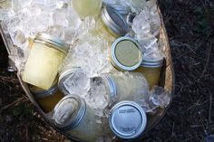 lemonade in mason jars chilling in ice!  outdoor party ideas pinterest - Google Search
