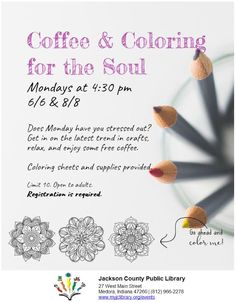 THIS PROGRAM HAS EXPIRED - Relax and color at the Medora Library during Coffee & Coloring for the Soul!