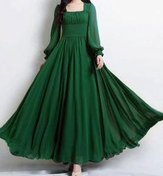 Empire Waist Long Green Dress – New dress designs Indian Gowns Dresses, Indian Fashion Dresses, Indian Designer Outfits, Designer Dresses, Evening Dresses, Dresses To Wear To A Wedding, Party Wear Dresses, Dress Party, Dress Wedding