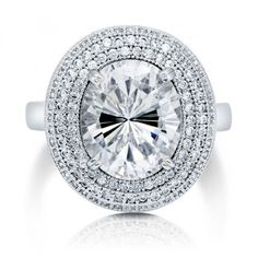 Oval Cut Cubic Zirconia CZ Sterling Silver Halo Cocktail Ring 5.05 ct