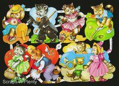 German Victorian Style Embossed Scrap Die Cut - Valentine Kittens/Cat   EF7139