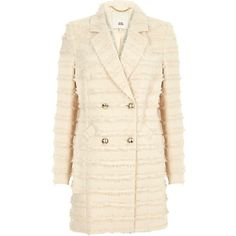 River Island Cream fringed double breasted jacket (480 PEN) ❤ liked on Polyvore featuring outerwear, jackets, coats / jackets, cream, women, pink jacket, river island jackets, long sleeve jacket, tall jackets and striped jacket