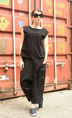 Casual Black Top / Asymmetrical Tunic Top / Short Sleeve Pink Blouse by METAMORPHOZA