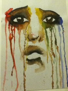 Watercolour crying emotion