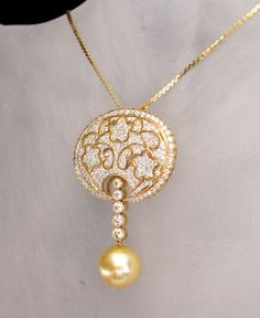CWS! 25% OFF price shown for this 18k Diamond South Sea Pearl Pin/Pendant Necklace is Spectacular & Valuable!