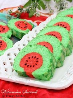 Do you love watermelon? If yes, then you will definitely love these watermelon dessert recipes which you can try anytime for the upcoming summer! Swiss Roll Cakes, Swiss Cake, Watermelon Dessert, Watermelon Cake Recipe, Japanese Roll Cake, Jelly Roll Cake, Cake Recipes, Dessert Recipes, Patterned Cake