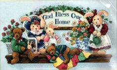 Dimensions Cuddly Blessing Counted Cross Stitch Kit 3888 God Bless Our Home 1998 for sale online Counted Cross Stitch Kits, Blessing, Counting, Bears, God, Frame, Punto Cruz, Dots, Dios