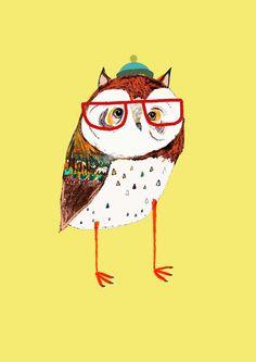 Illustration art print The Fresh Owl Limited by AshleyPercival, $40.00
