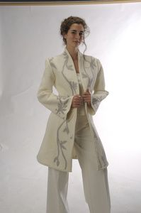 Long Coat  Description:  Felted merino wool and silk chiffon tailored coat.  Dimensions:  H:1.00 x W:1.00 x D:1.00 Inches