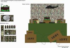 Projeto de identidade visual e decoração para festa tema militar