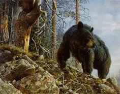 Black bear painting by Carl Brenders - Mighty Intruder
