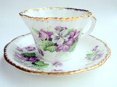 Vintage Salisbury Bone China Cup and Saucer, England, Devonshire Violets, 1900-19040, 22K gold, Purple, White, Floral, Tea Party